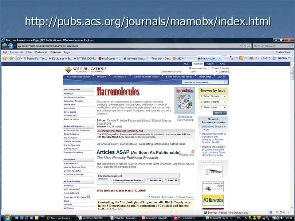 Előállító: American Chemical Society ACS Publications Előállító: American Chemical Society ACS Publications A polimerekkel foglalkozó tudomány alapvet