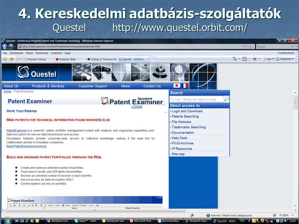 4. Kereskedelmi adatbázis-szolgáltatók Datastarhttp://www.datastarweb.com