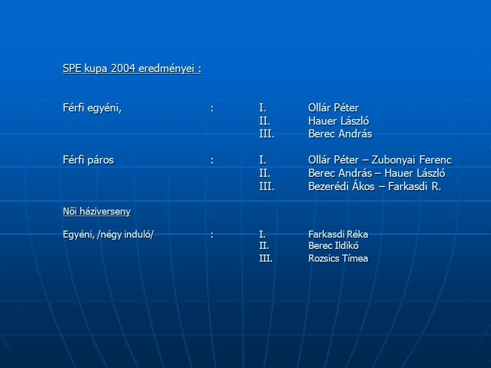 SPE kupa 2004 eredményei : Férfi egyéni, : I. Ollár Péter II.Hauer László III.Berec András Férfi páros :I. Ollár Péter – Zubonyai Ferenc II. Berec And