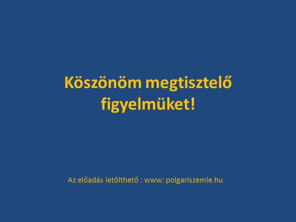 Köszönöm megtisztelő figyelmüket! Az előadás letölthető : www: polgariszemle.hu