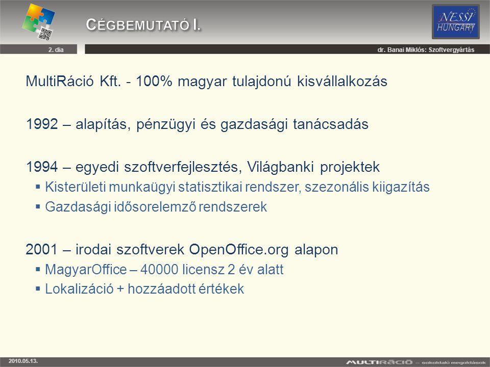 MultiRáció Kft. - 100% magyar tulajdonú kisvállalkozás 1992 – alapítás, pénzügyi és gazdasági tanácsadás 1994 – egyedi szoftverfejlesztés, Világbanki