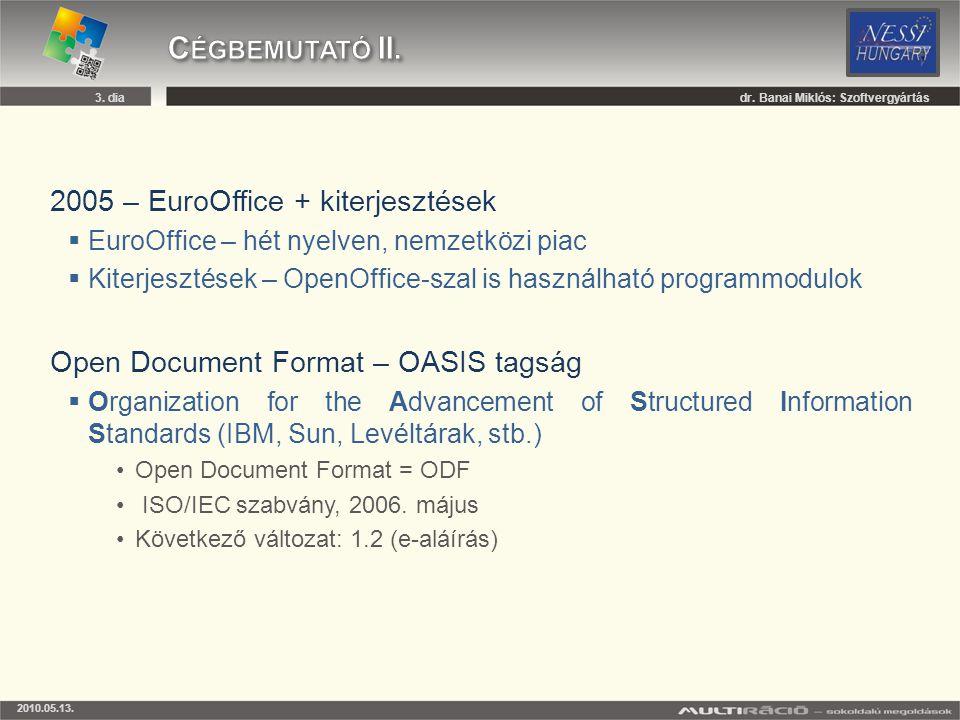 2005 – EuroOffice + kiterjesztések  EuroOffice – hét nyelven, nemzetközi piac  Kiterjesztések – OpenOffice-szal is használható programmodulok Open D