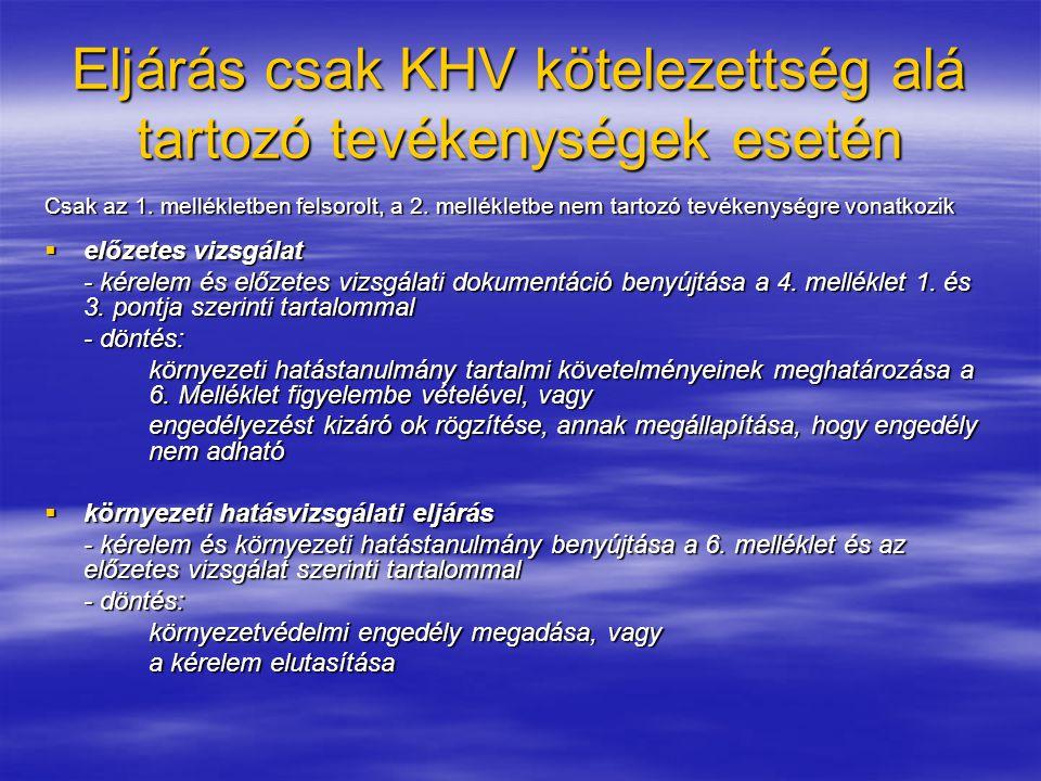 Eljárás csak KHV kötelezettség alá tartozó tevékenységek esetén Csak az 1.