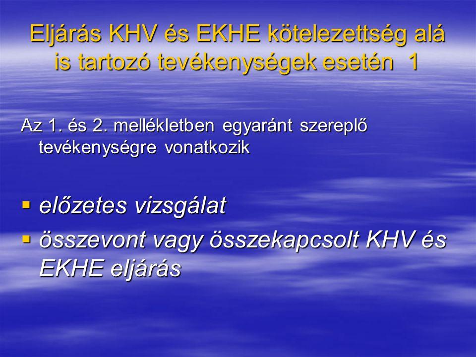 Eljárás KHV kötelezettség eseti megállapítása és EKHE kötelezettség alá is tartozó tevékenységeknél 5 Nem jelentős környezeti hatások esetén:  EKHE eljárás (R.