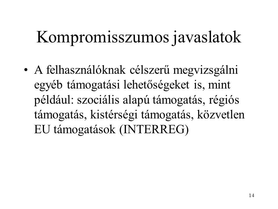 14 Kompromisszumos javaslatok A felhasználóknak célszerű megvizsgálni egyéb támogatási lehetőségeket is, mint például: szociális alapú támogatás, régiós támogatás, kistérségi támogatás, közvetlen EU támogatások (INTERREG)