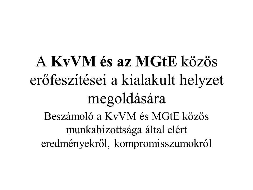 A KvVM és az MGtE közös erőfeszítései a kialakult helyzet megoldására Beszámoló a KvVM és MGtE közös munkabizottsága által elért eredményekről, kompromisszumokról