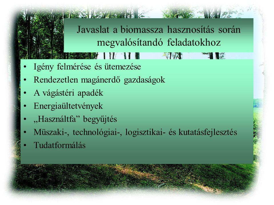 """Javaslat a biomassza hasznosítás során megvalósítandó feladatokhoz Igény felmérése és ütemezése Rendezetlen magánerdő gazdaságok A vágástéri apadék Energiaültetvények """"Használtfa begyűjtés Müszaki-, technológiai-, logisztikai- és kutatásfejlesztés Tudatformálás"""