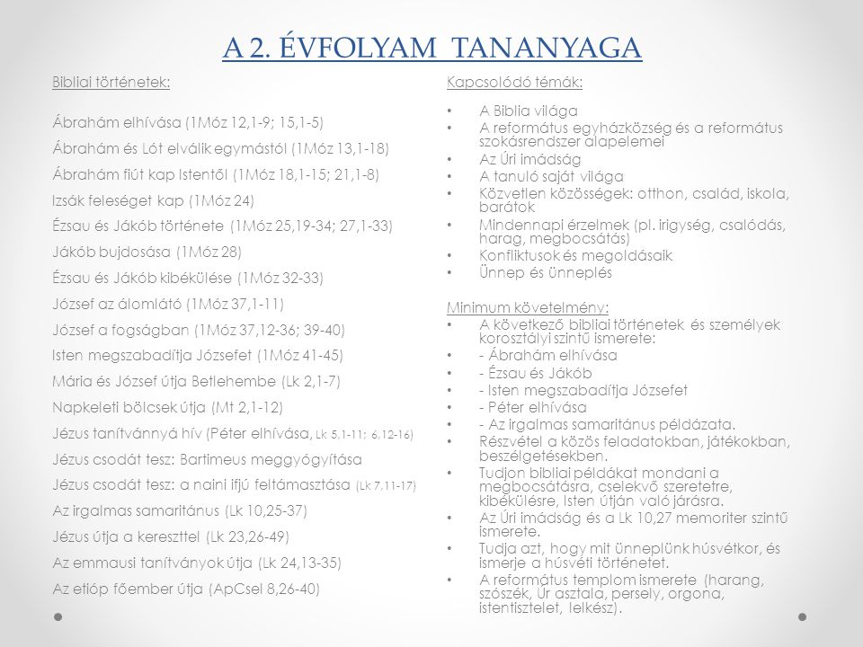 A 2. ÉVFOLYAM TANANYAGA Bibliai történetek: Ábrahám elhívása (1Móz 12,1-9; 15,1-5) Ábrahám és Lót elválik egymástól (1Móz 13,1-18) Ábrahám fiút kap Is