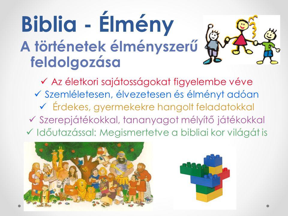 Biblia - Élmény A történetek élményszerű feldolgozása Az életkori sajátosságokat figyelembe véve Szemléletesen, élvezetesen és élményt adóan Érdekes,