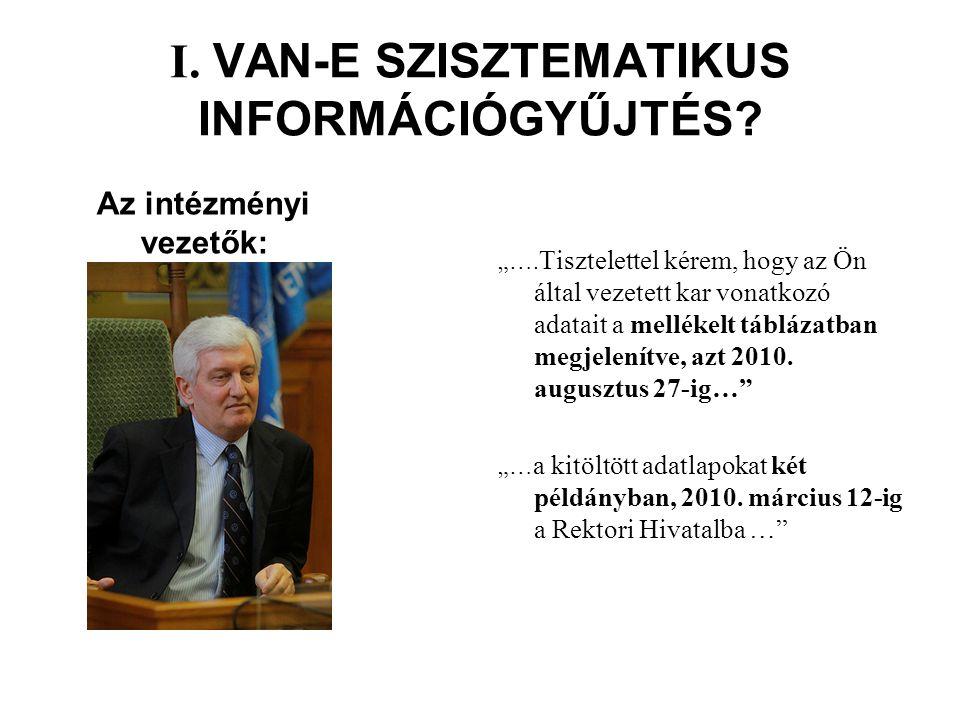 """I. VAN-E SZISZTEMATIKUS INFORMÁCIÓGYŰJTÉS. """"…."""
