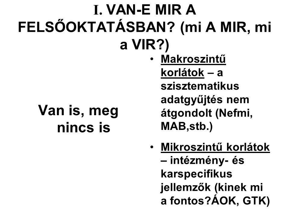 I. VAN-E MIR A FELSŐOKTATÁSBAN.