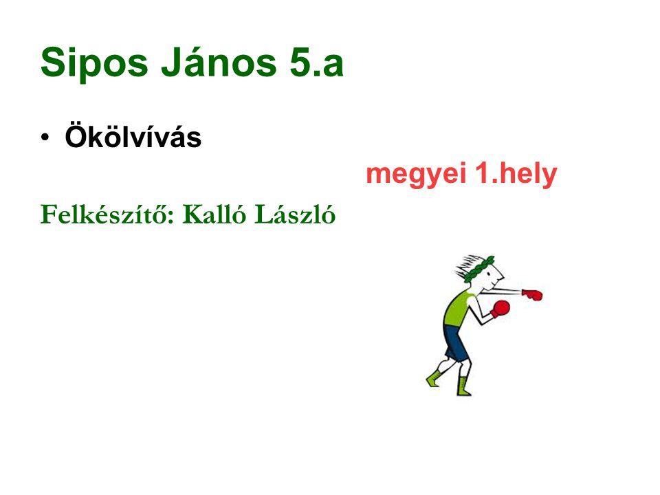 Sipos János 5.a Ökölvívás megyei 1.hely Felkészítő: Kalló László