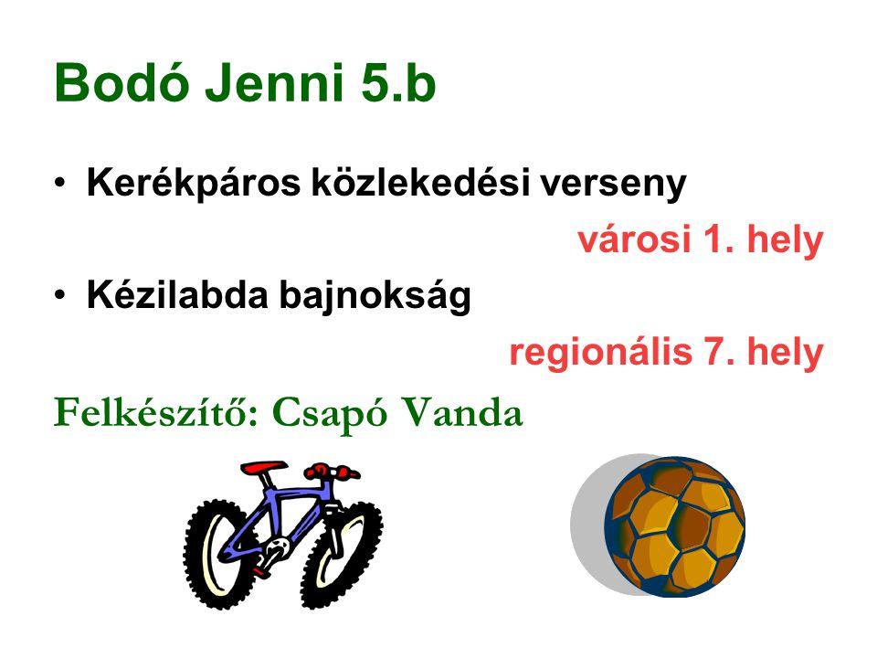 Bodó Jenni 5.b Kerékpáros közlekedési verseny városi 1. hely Kézilabda bajnokság regionális 7. hely Felkészítő: Csapó Vanda