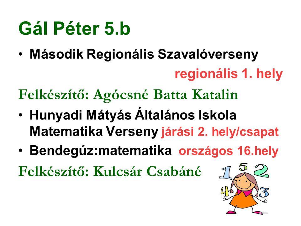 Gál Péter 5.b Második Regionális Szavalóverseny regionális 1. hely Felkészítő: Agócsné Batta Katalin Hunyadi Mátyás Általános Iskola Matematika Versen
