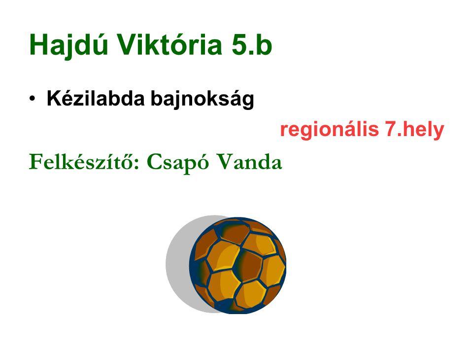 Hajdú Viktória 5.b Kézilabda bajnokság regionális 7.hely Felkészítő: Csapó Vanda