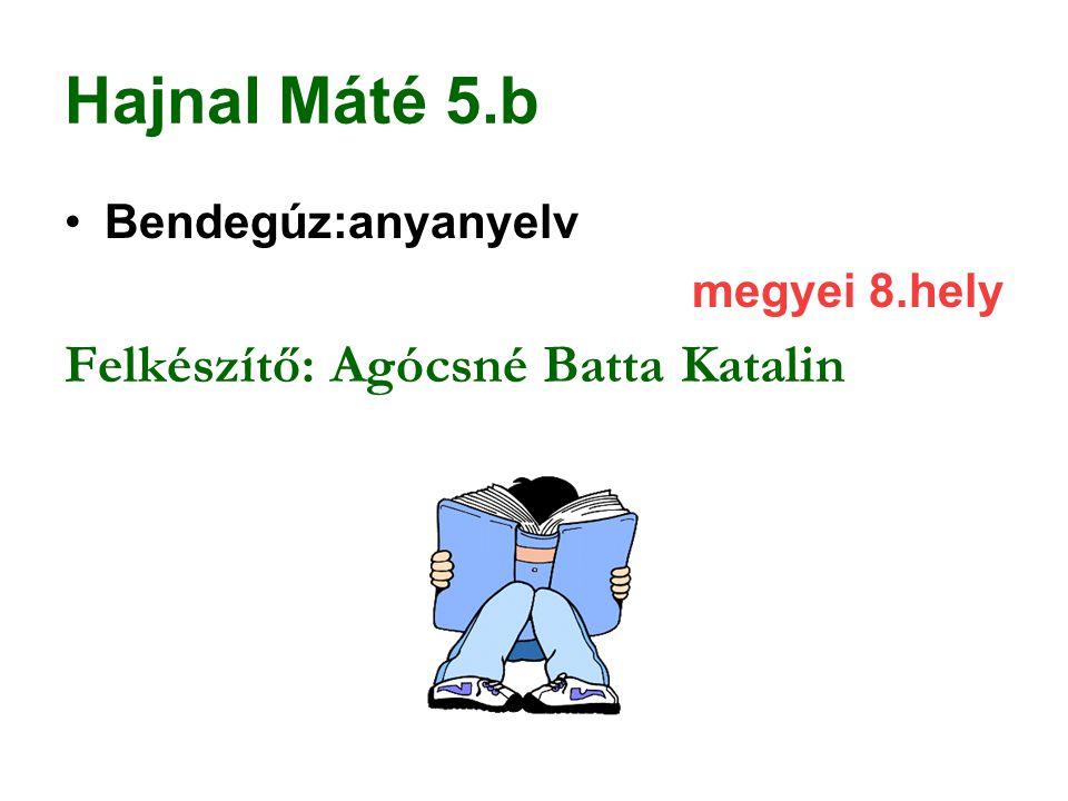 Hajnal Máté 5.b Bendegúz:anyanyelv megyei 8.hely Felkészítő: Agócsné Batta Katalin