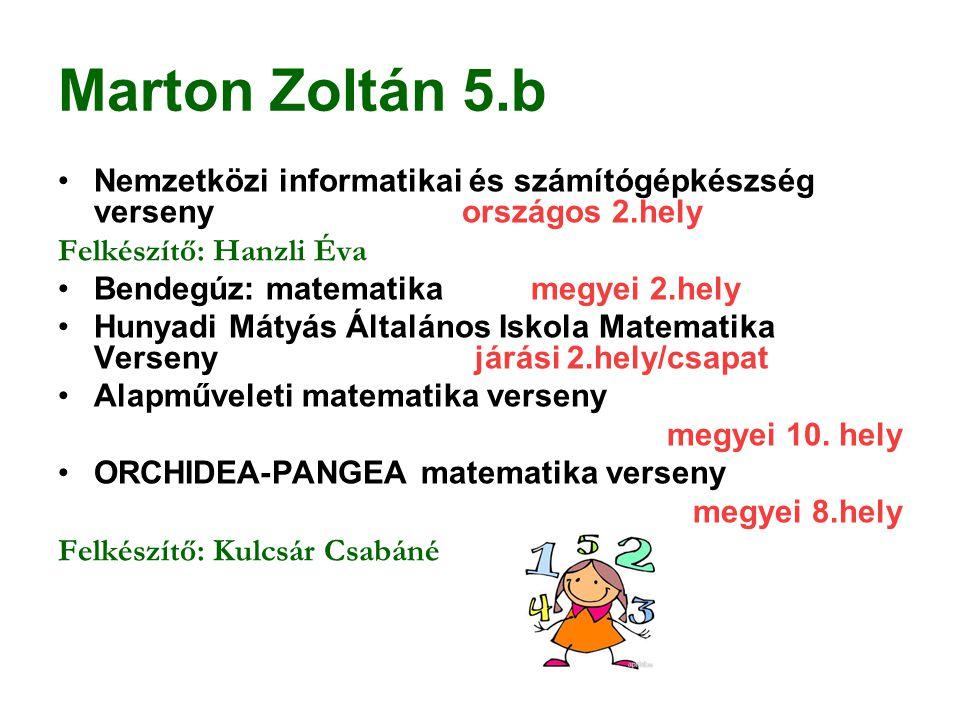 Marton Zoltán 5.b Nemzetközi informatikai és számítógépkészség verseny országos 2.hely Felkészítő: Hanzli Éva Bendegúz: matematika megyei 2.hely Hunya