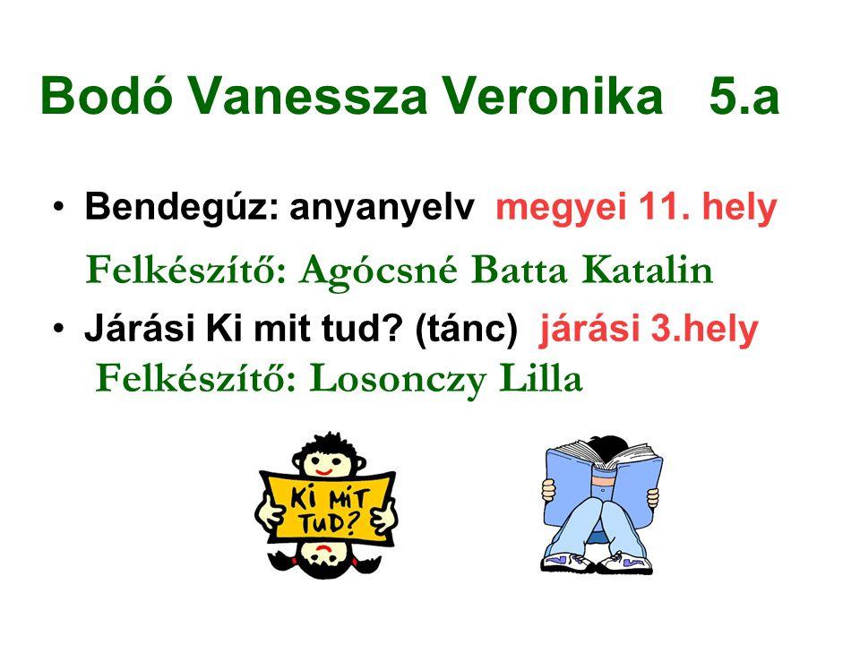 Bodó Vanessza Veronika 5.a Bendegúz: anyanyelv megyei 11. hely Felkészítő: Agócsné Batta Katalin Járási Ki mit tud? (tánc) járási 3.hely Felkészítő: L