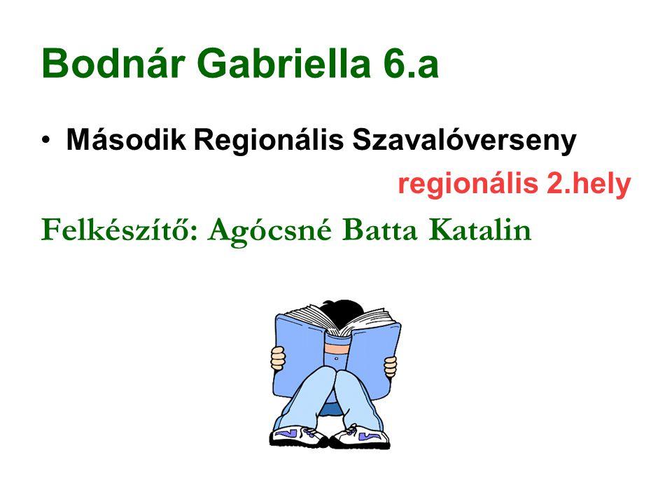 Bodnár Gabriella 6.a Második Regionális Szavalóverseny regionális 2.hely Felkészítő: Agócsné Batta Katalin
