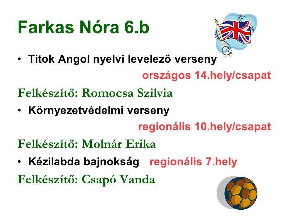 Farkas Nóra 6.b Titok Angol nyelvi levelező verseny országos 14.hely/csapat Felkészítő: Romocsa Szilvia Környezetvédelmi verseny regionális 10.hely/cs