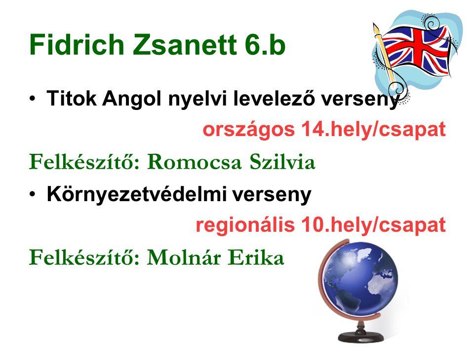 Fidrich Zsanett 6.b Titok Angol nyelvi levelező verseny országos 14.hely/csapat Felkészítő: Romocsa Szilvia Környezetvédelmi verseny regionális 10.hel
