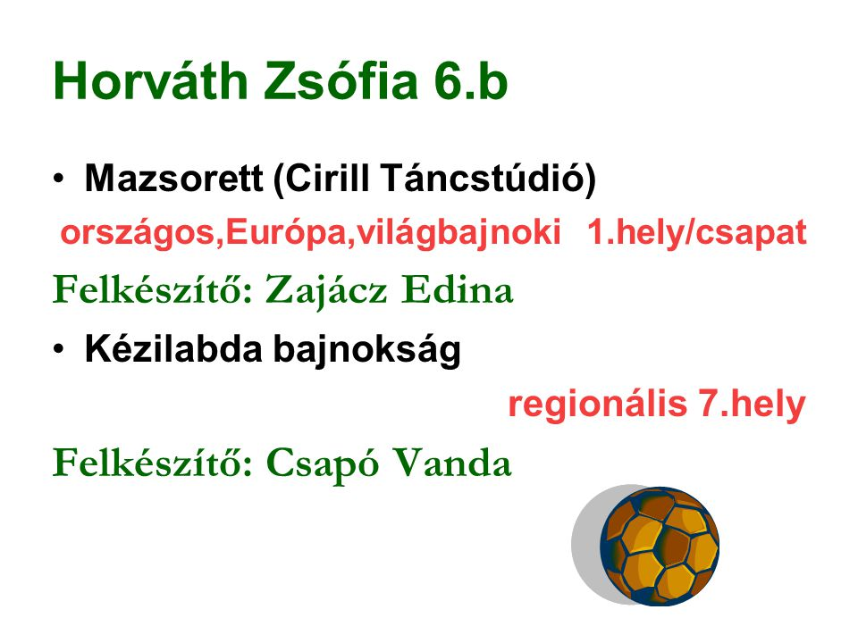 Horváth Zsófia 6.b Mazsorett (Cirill Táncstúdió) országos,Európa,világbajnoki 1.hely/csapat Felkészítő: Zajácz Edina Kézilabda bajnokság regionális 7.