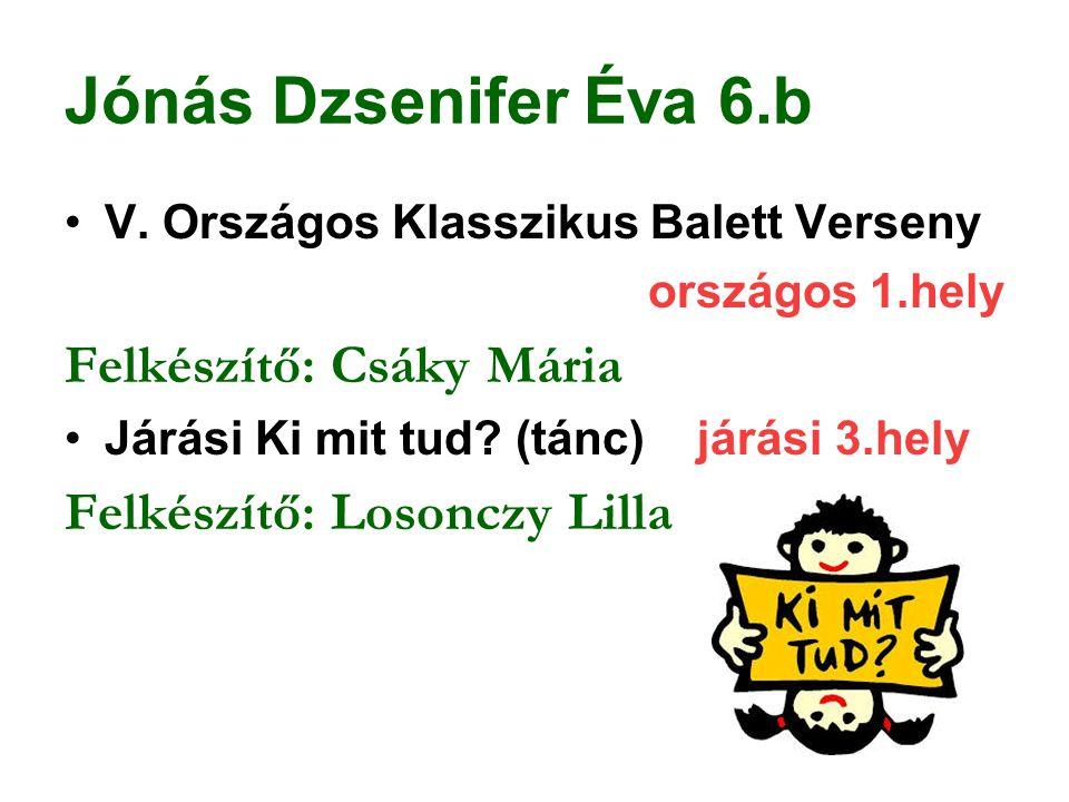 Jónás Dzsenifer Éva 6.b V. Országos Klasszikus Balett Verseny országos 1.hely Felkészítő: Csáky Mária Járási Ki mit tud? (tánc) járási 3.hely Felkészí