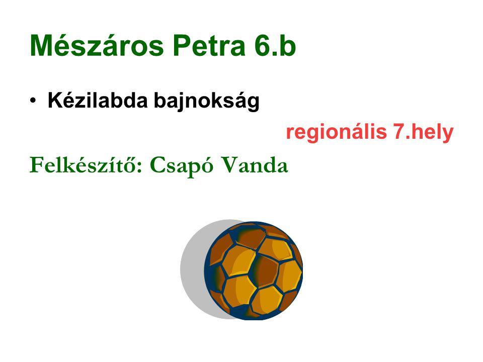 Mészáros Petra 6.b Kézilabda bajnokság regionális 7.hely Felkészítő: Csapó Vanda