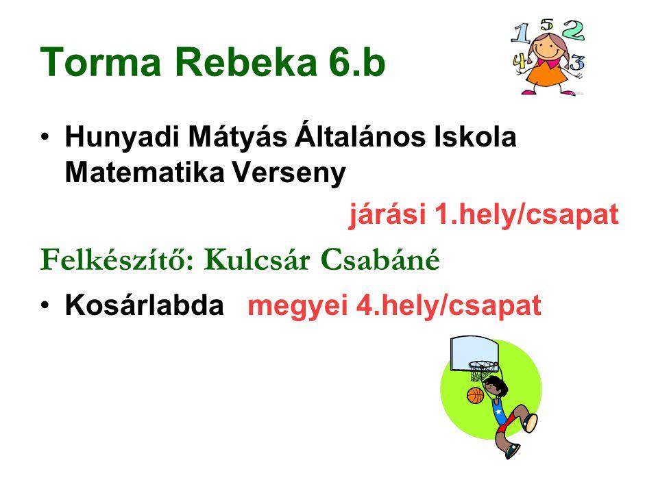 Torma Rebeka 6.b Hunyadi Mátyás Általános Iskola Matematika Verseny járási 1.hely/csapat Felkészítő: Kulcsár Csabáné Kosárlabda megyei 4.hely/csapat