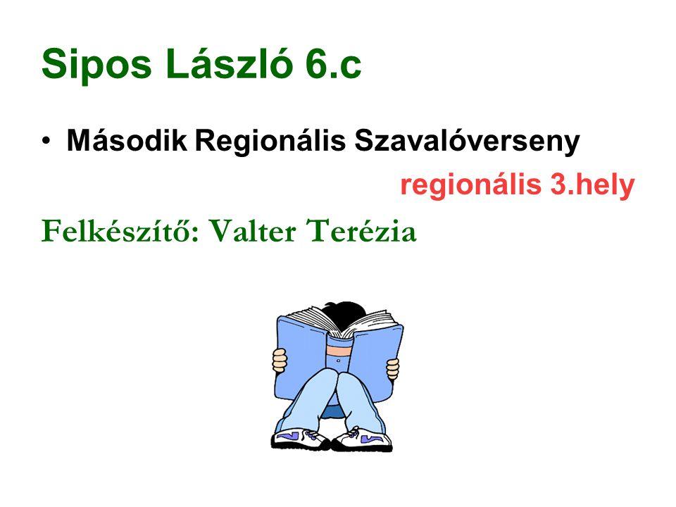 Sipos László 6.c Második Regionális Szavalóverseny regionális 3.hely Felkészítő: Valter Terézia