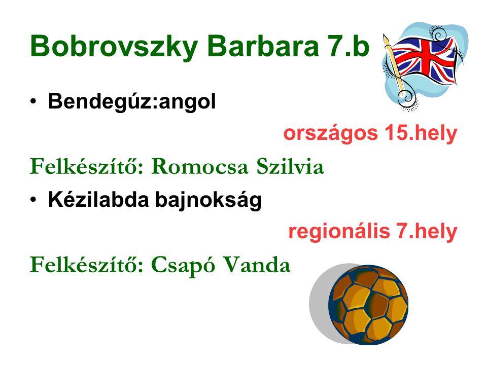 Bobrovszky Barbara 7.b Bendegúz:angol országos 15.hely Felkészítő: Romocsa Szilvia Kézilabda bajnokság regionális 7.hely Felkészítő: Csapó Vanda
