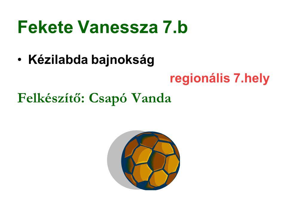 Fekete Vanessza 7.b Kézilabda bajnokság regionális 7.hely Felkészítő: Csapó Vanda