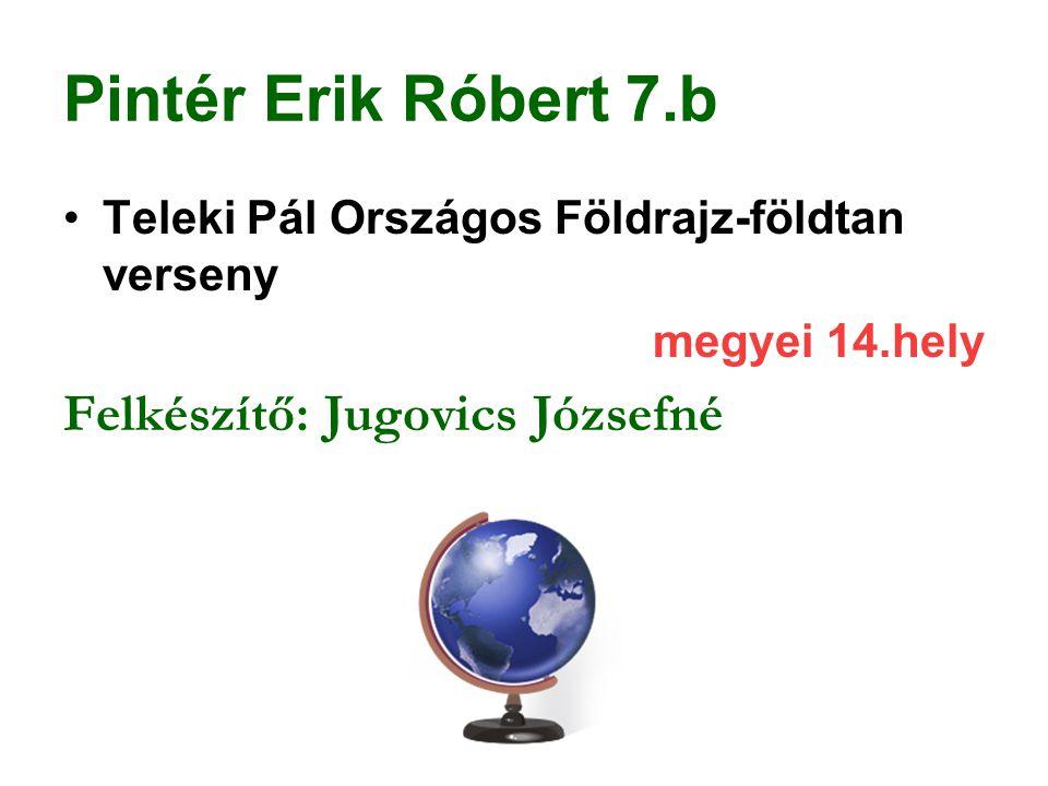 Pintér Erik Róbert 7.b Teleki Pál Országos Földrajz-földtan verseny megyei 14.hely Felkészítő: Jugovics Józsefné
