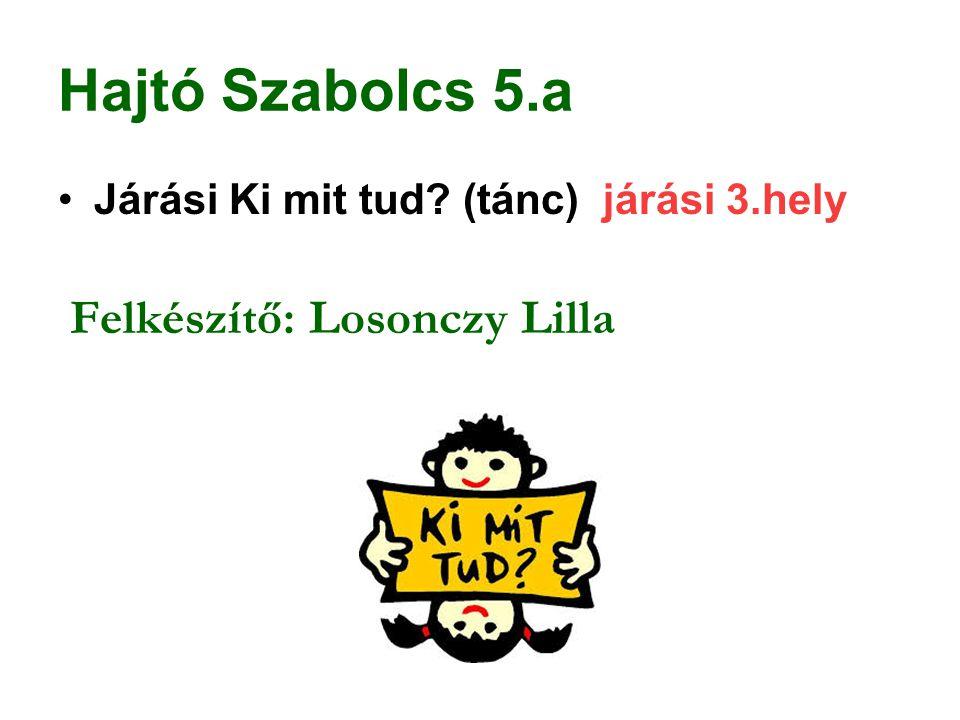 Hajtó Szabolcs 5.a Járási Ki mit tud? (tánc) járási 3.hely Felkészítő: Losonczy Lilla