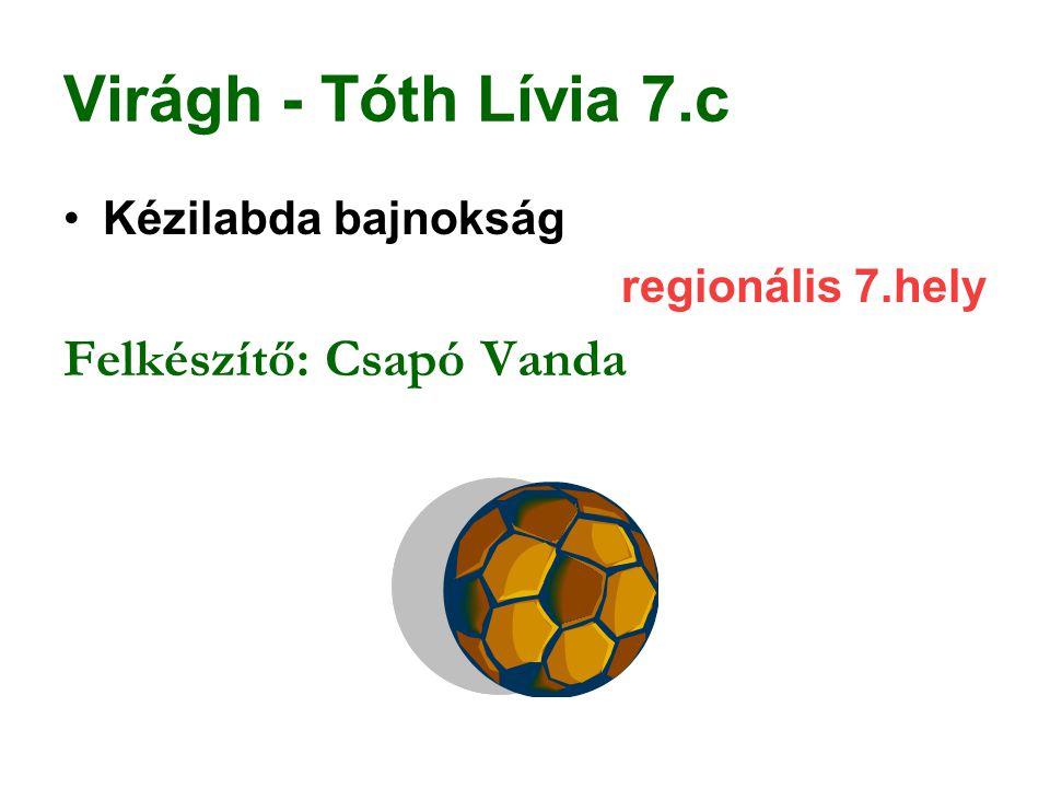 Virágh - Tóth Lívia 7.c Kézilabda bajnokság regionális 7.hely Felkészítő: Csapó Vanda