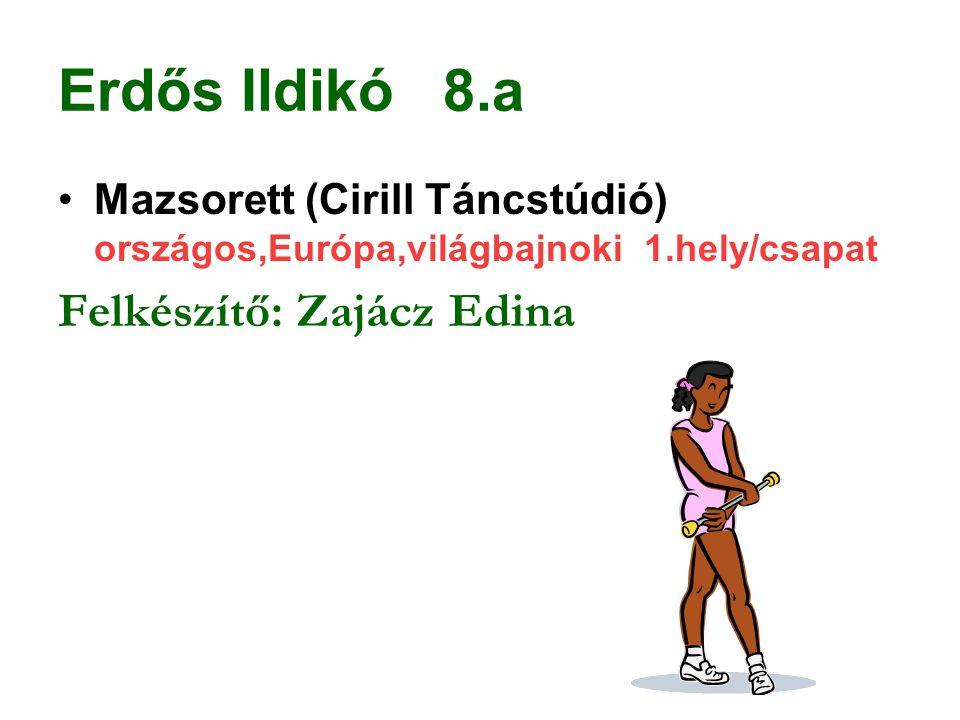 Erdős Ildikó 8.a Mazsorett (Cirill Táncstúdió) országos,Európa,világbajnoki 1.hely/csapat Felkészítő: Zajácz Edina