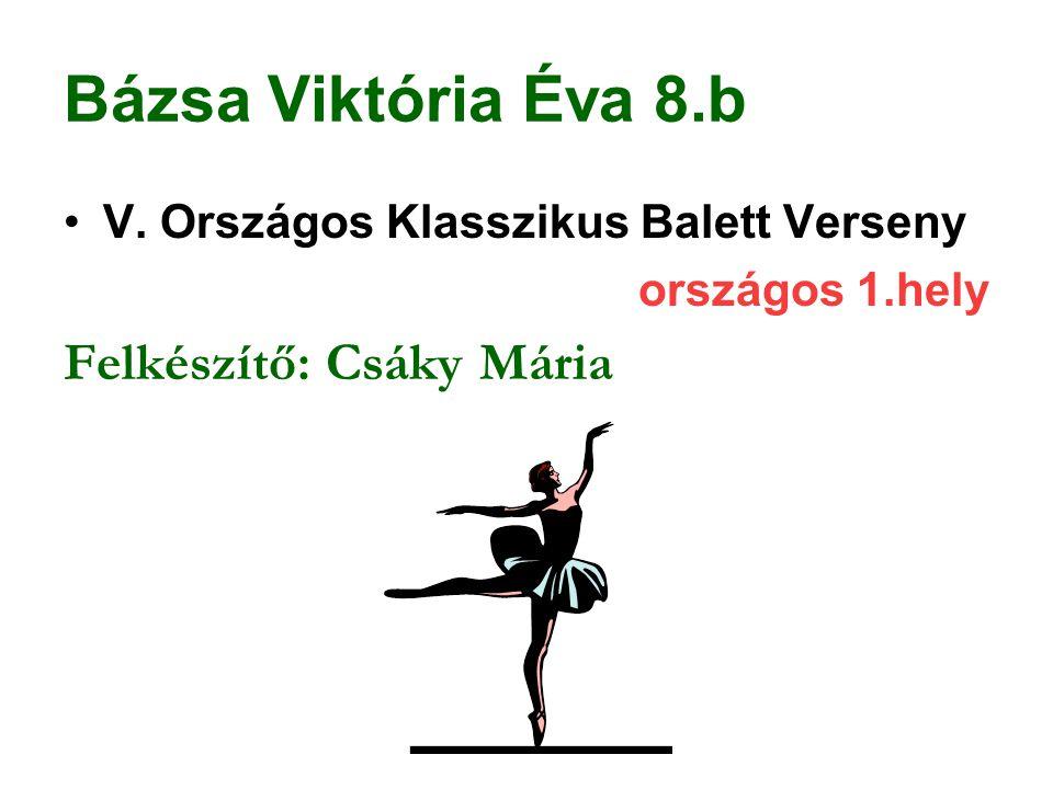Bázsa Viktória Éva 8.b V. Országos Klasszikus Balett Verseny országos 1.hely Felkészítő: Csáky Mária