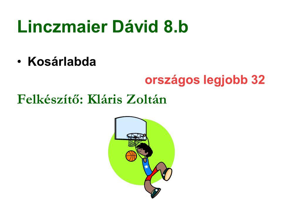 Linczmaier Dávid 8.b Kosárlabda országos legjobb 32 Felkészítő: Kláris Zoltán