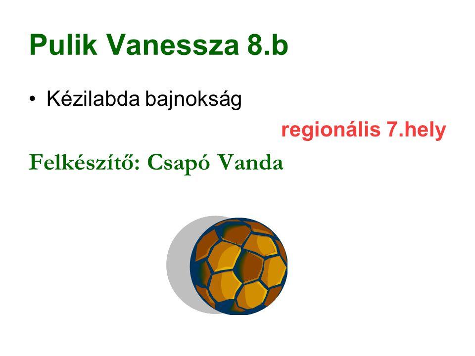 Pulik Vanessza 8.b Kézilabda bajnokság regionális 7.hely Felkészítő: Csapó Vanda