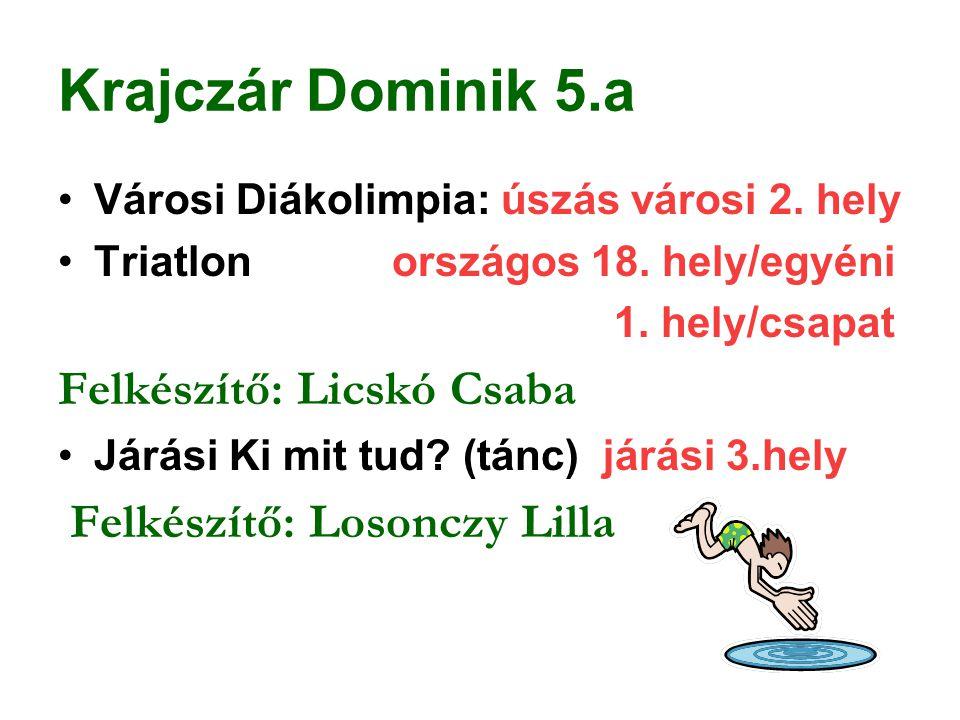 Krajczár Dominik 5.a Városi Diákolimpia: úszás városi 2. hely Triatlon országos 18. hely/egyéni 1. hely/csapat Felkészítő: Licskó Csaba Járási Ki mit