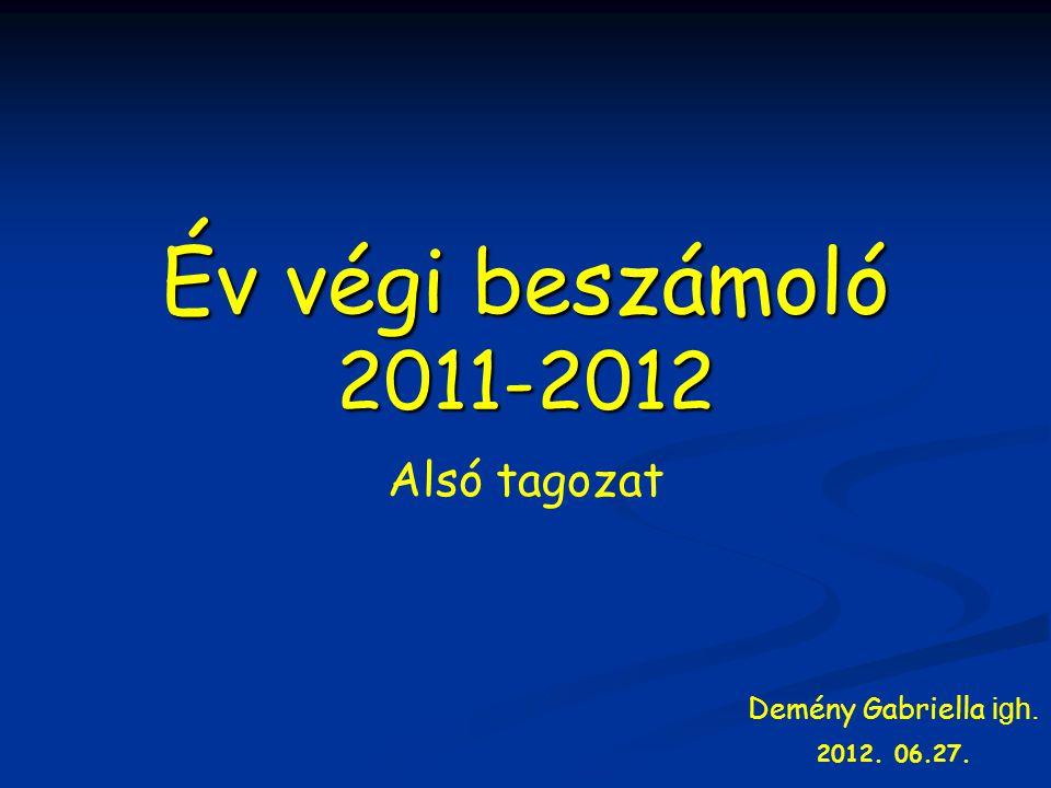 Év végi beszámoló 2011-2012 Alsó tagozat Demény Gabriella igh. 2012. 06.27.