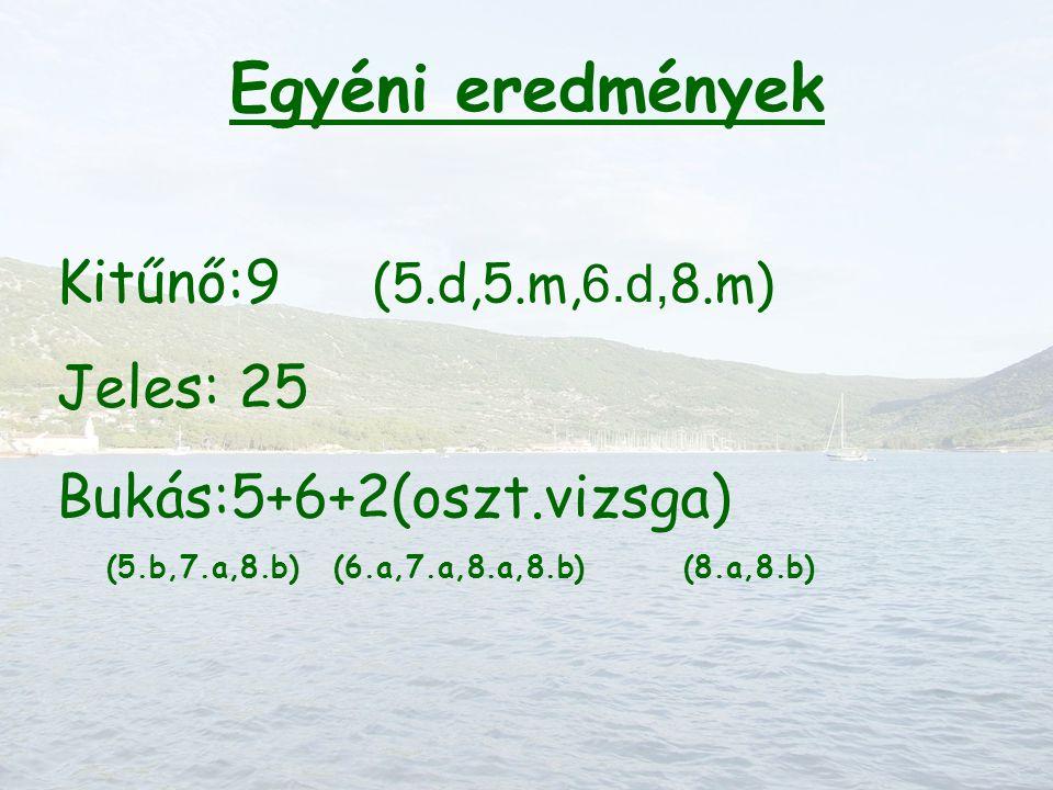 Egyéni eredmények Kitűnő:9 (5.d,5.m, 6.d, 8.m) Jeles: 25 Bukás:5+6+2(oszt.vizsga) (5.b,7.a,8.b) (6.a,7.a,8.a,8.b) (8.a,8.b)