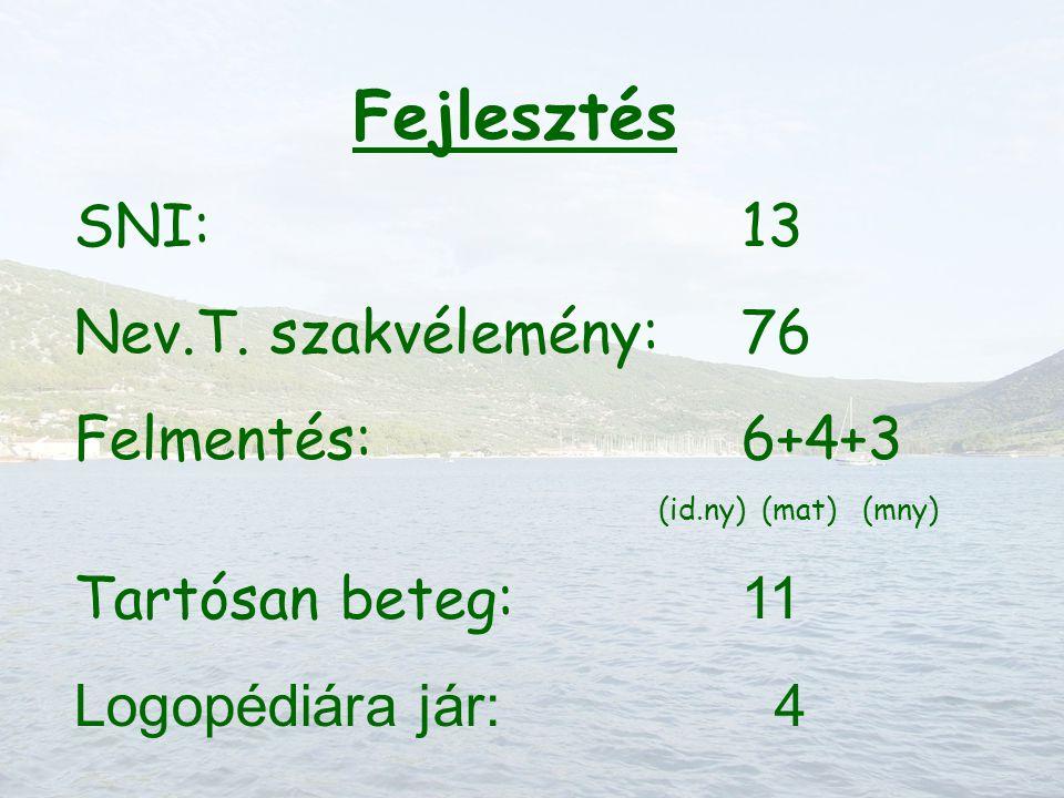 Fejlesztés SNI:13 Nev.T. szakvélemény:76 Felmentés:6+4+3 (id.ny) (mat) (mny) Tartósan beteg: 11 Logopédiára jár: 4