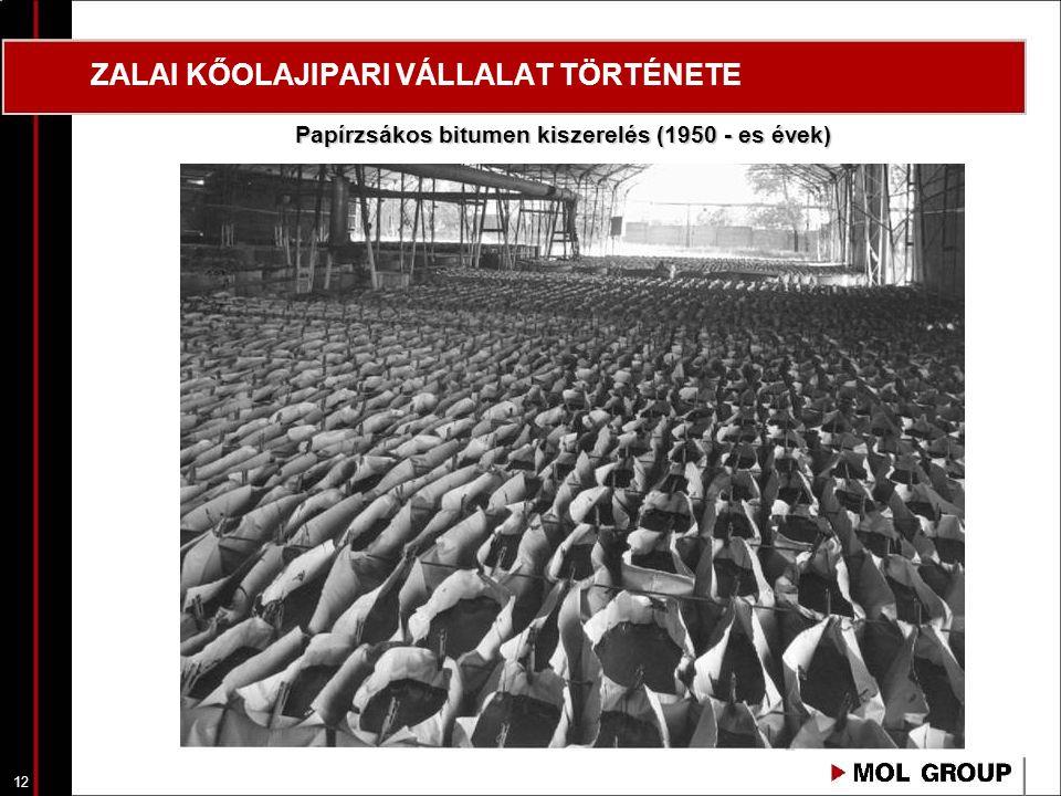 12 ZALAI KŐOLAJIPARI VÁLLALAT TÖRTÉNETE Papírzsákos bitumen kiszerelés (1950 - es évek)