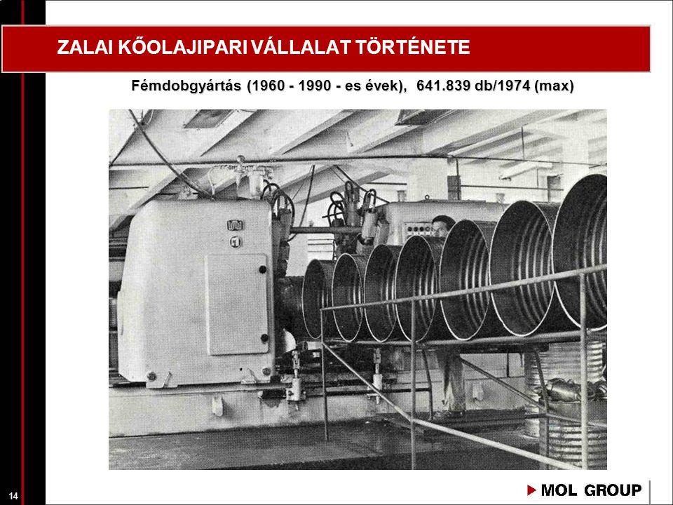 14 ZALAI KŐOLAJIPARI VÁLLALAT TÖRTÉNETE Fémdobgyártás (1960 - 1990 - es évek), 641.839 db/1974 (max)