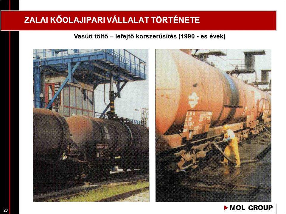 20 ZALAI KŐOLAJIPARI VÁLLALAT TÖRTÉNETE Vasúti töltő – lefejtő korszerűsítés (1990 - es évek)
