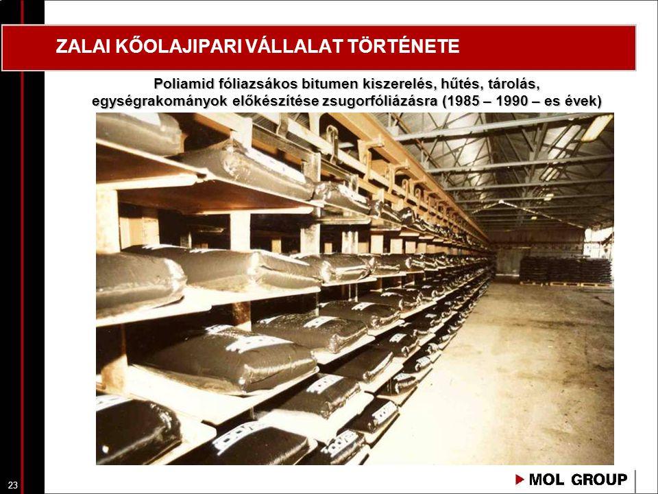 23 ZALAI KŐOLAJIPARI VÁLLALAT TÖRTÉNETE Poliamid fóliazsákos bitumen kiszerelés, hűtés, tárolás, egységrakományok előkészítése zsugorfóliázásra (1985
