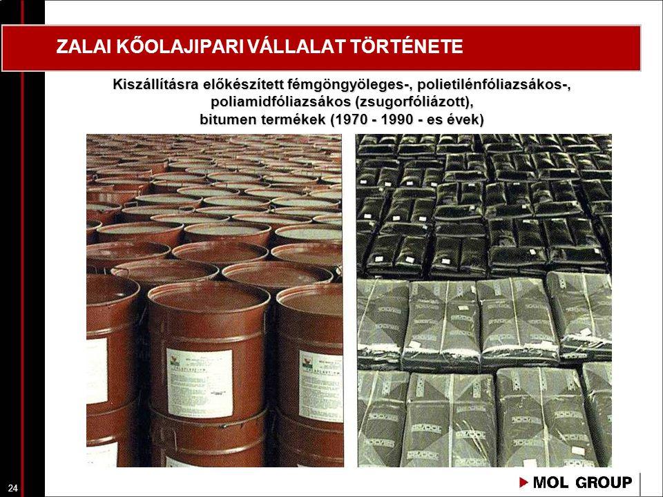 24 ZALAI KŐOLAJIPARI VÁLLALAT TÖRTÉNETE Kiszállításra előkészített fémgöngyöleges-, polietilénfóliazsákos-, poliamidfóliazsákos (zsugorfóliázott), bit