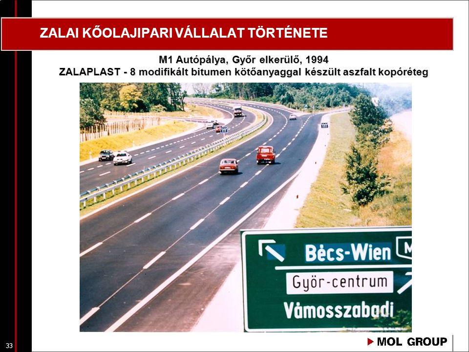 33 ZALAI KŐOLAJIPARI VÁLLALAT TÖRTÉNETE M1 Autópálya, Győr elkerülő, 1994 ZALAPLAST - 8 modifikált bitumen kötőanyaggal készült aszfalt kopóréteg