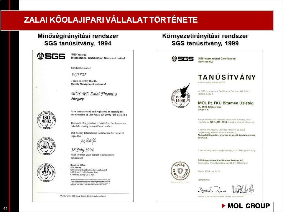 41 ZALAI KŐOLAJIPARI VÁLLALAT TÖRTÉNETE Minőségirányítási rendszer SGS tanúsítvány, 1994 Környezetirányítási rendszer SGS tanúsítvány, 1999